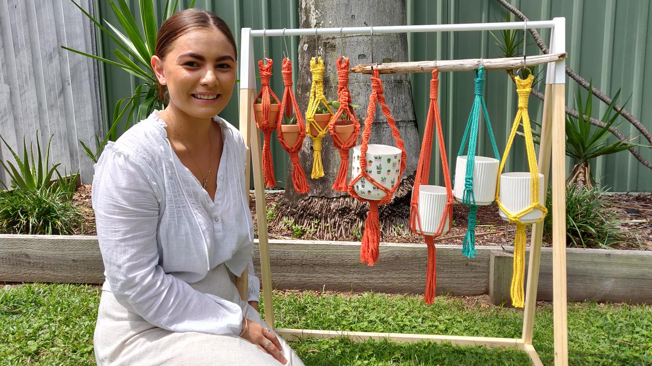 KNOTS OF FUN: Macrame by Hiraani is Hiraani Aleman's new business that gained nearly 300 Facebook likes in just a few hours after she hosted her first stall at Mount Plesant Troppo's Market. Picture: Kate Rasmussen.