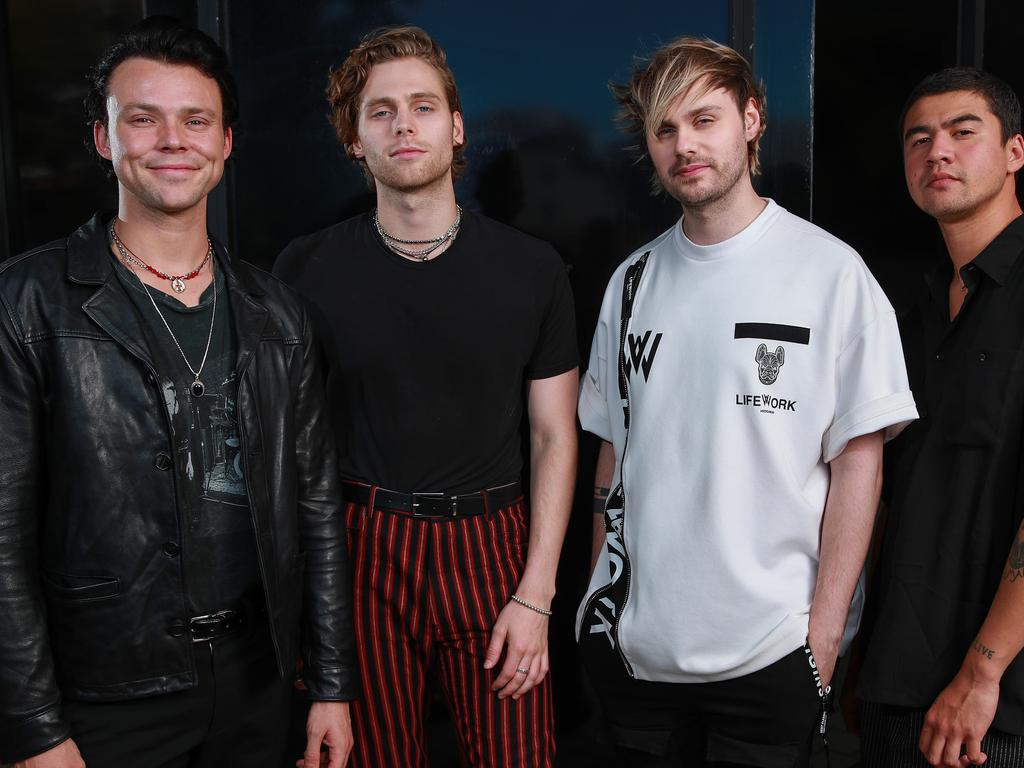 5 Seconds of Summer's Ashton Irwin, Luke Hemmings, Michael Clifford and Calum Hood in Sydney. Picture: Justin Lloyd