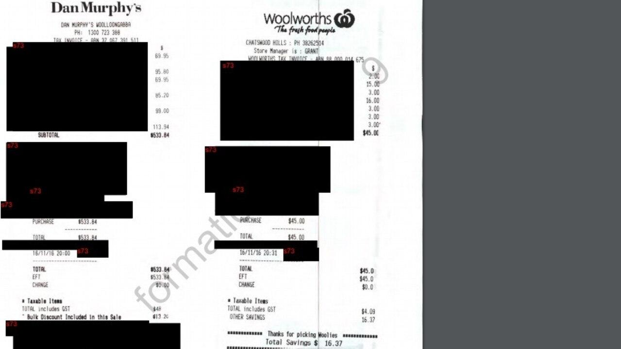 A bill for $533.64 from Dan Murphy's liquor store.