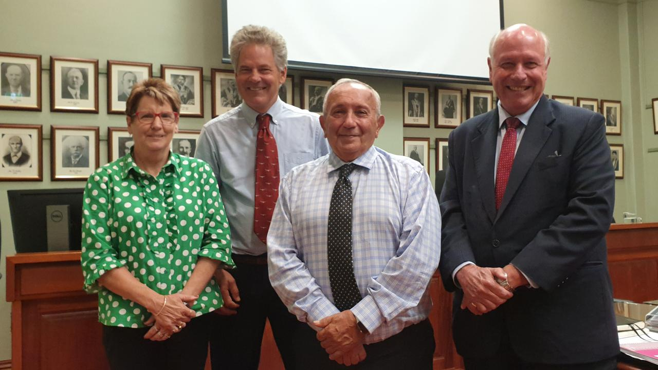 SAYING GOODBYE: Departing from the Toowoomba Regional Council are (from left) Crs Anne Glasheen, Mike Williams, Joe Ramia and Chris Tait.