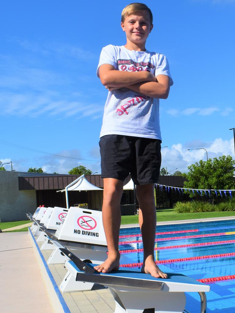 Gympie Gold Fins Swim Club - Tom Cranston, 11, finished 8th in the final at the Queensland Sprint Championships on Saturday. Photo: Bec Singh