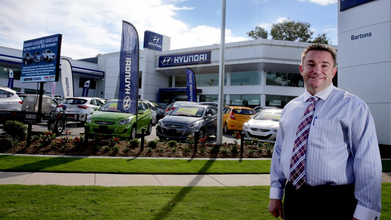 Mark Beitz in front of Bartons's Hyundai showroom at Wynnum. Picture: Chris Higgins