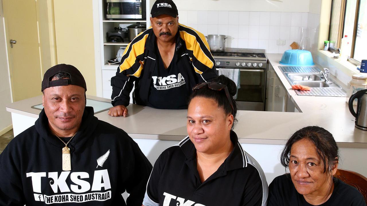 Wynnum based, national charity The Koha Shed Australia: Mike Iafeta, Pae-wai Puketapu, Lele Puketapu, Rangi Timutimu. Picture: Peter Cronin