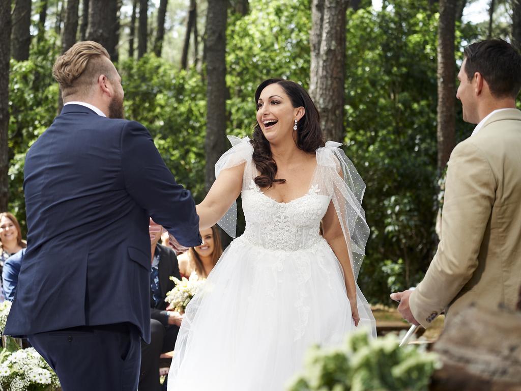 Contestants Luke Eglin meets his bride Poppy Jennings. Picture: Nine