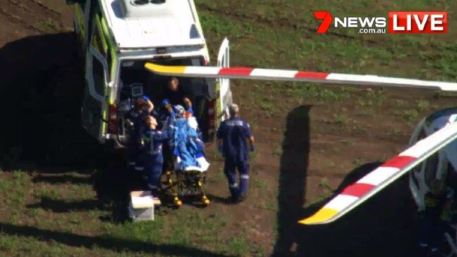 The man has been flown to hospital in a serious condition. Picture: 7 News Source:Channel 7