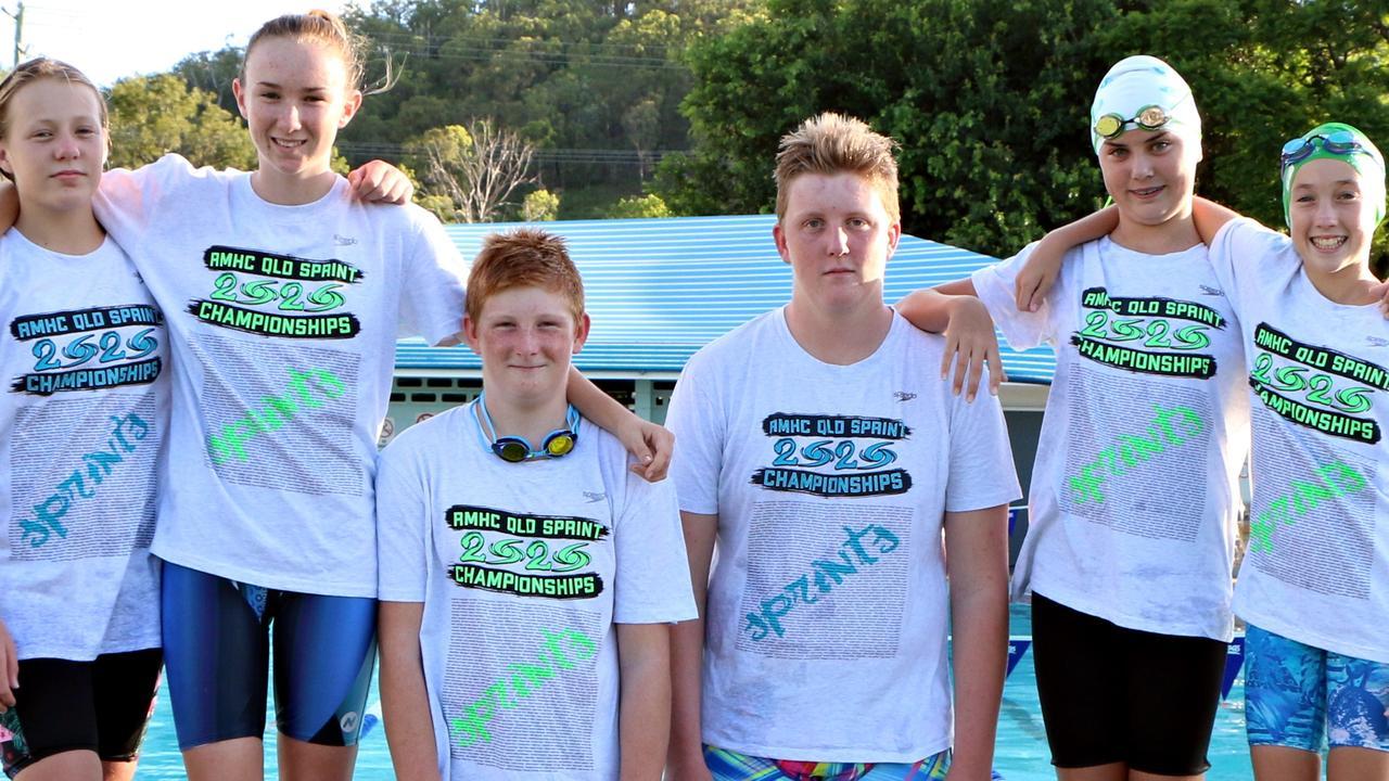 Kilkivan Stringrays Swimming Club champions - Sasha Power, Tobi Geri, Drew Lahiff, Violette Murnane and Molli McLean.