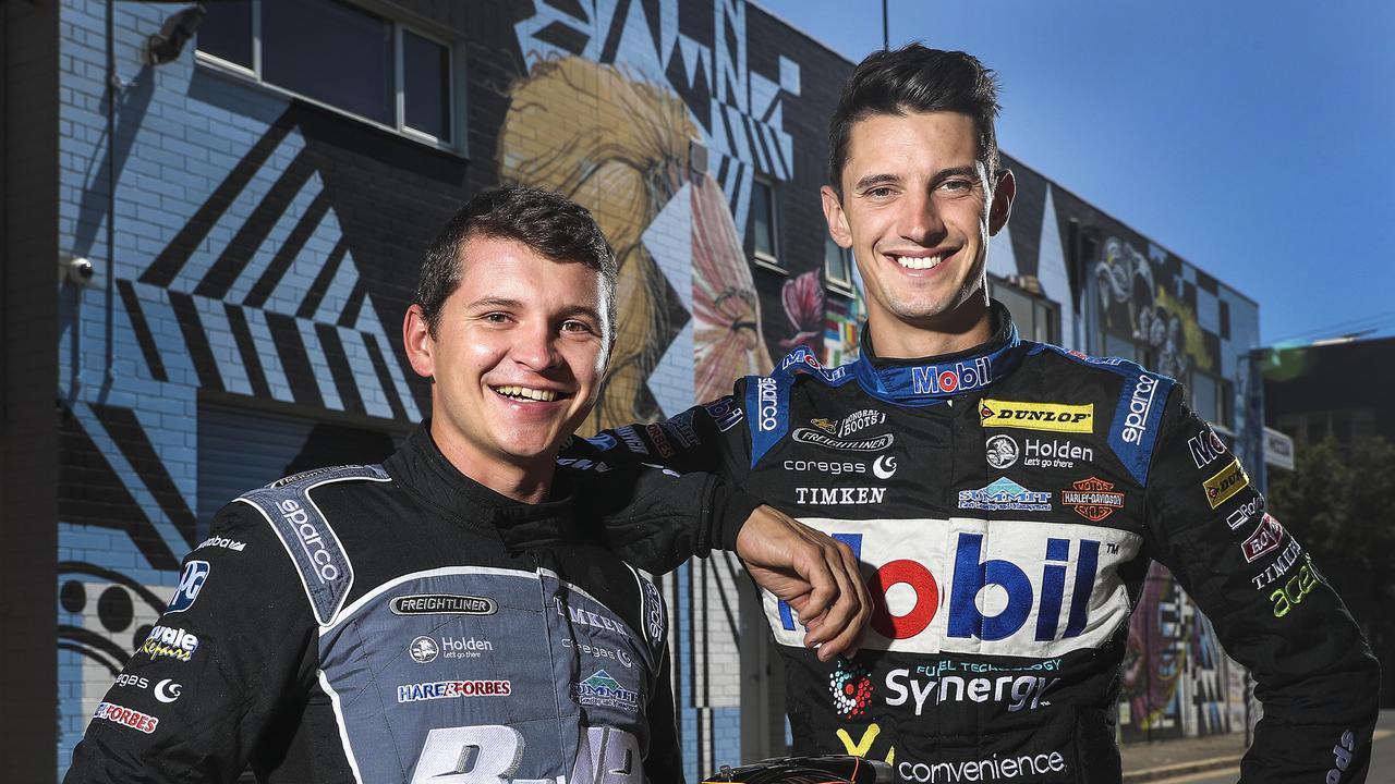 MOTOR RACING – Supercar drivers and new teammates Todd Hazelwood and Nick Percat. Picture SARAH REED