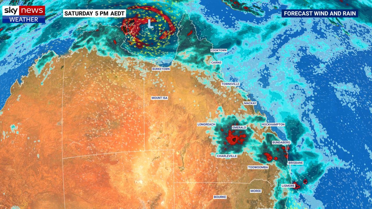 It's set to continue to be a storm week in Queensland while a tropical low, that could form into a cyclone, is bubbling up in the Gulf of Carpentaria. Picture: BOM.