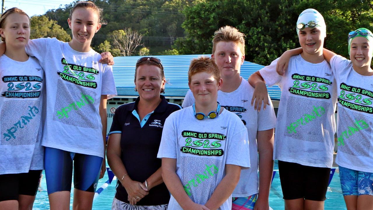 Kilkivan Stringrays Swimming Club champions - Sasha Power, Tobi Geri, coach Krystal Power, Drew Lahiff, Violette Murnane and Molli McLean.