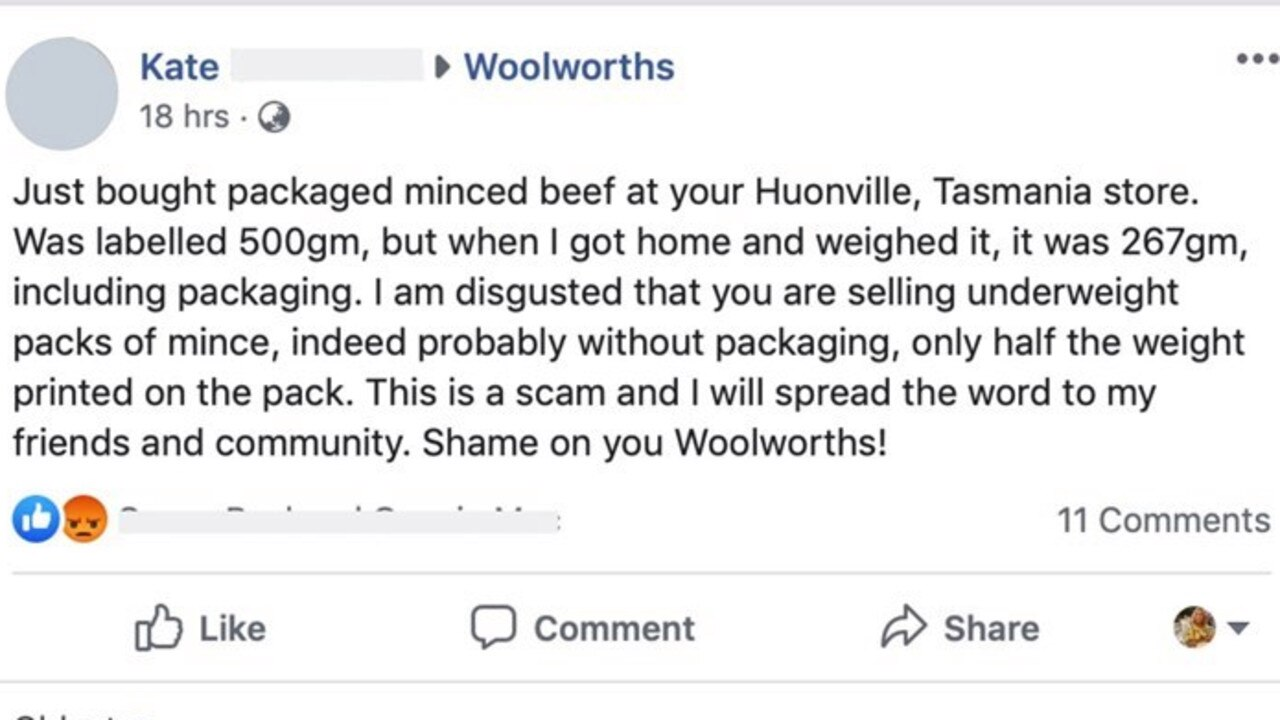 A Woolworths customer claimed her mince beef weighed 267g, despite it being advertised for 500g. Picture: Facebook