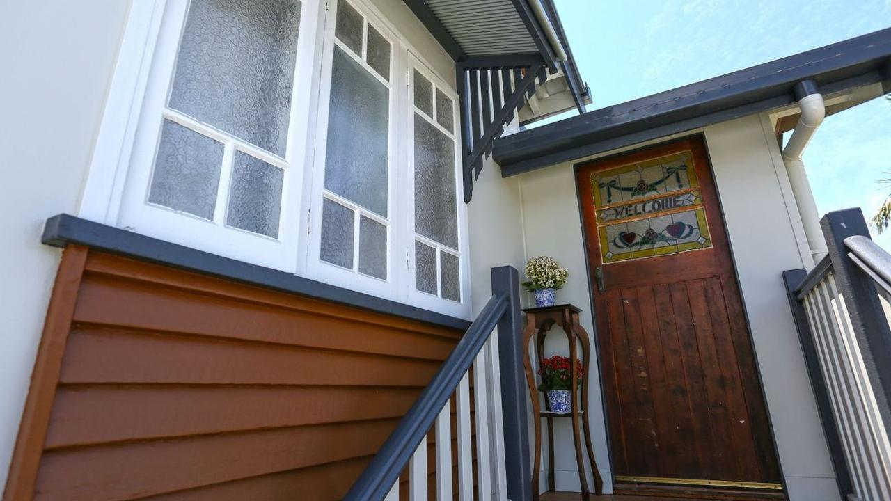 CHARMING: A leadlight front door greets you at 10 Tait Street, West Mackay.