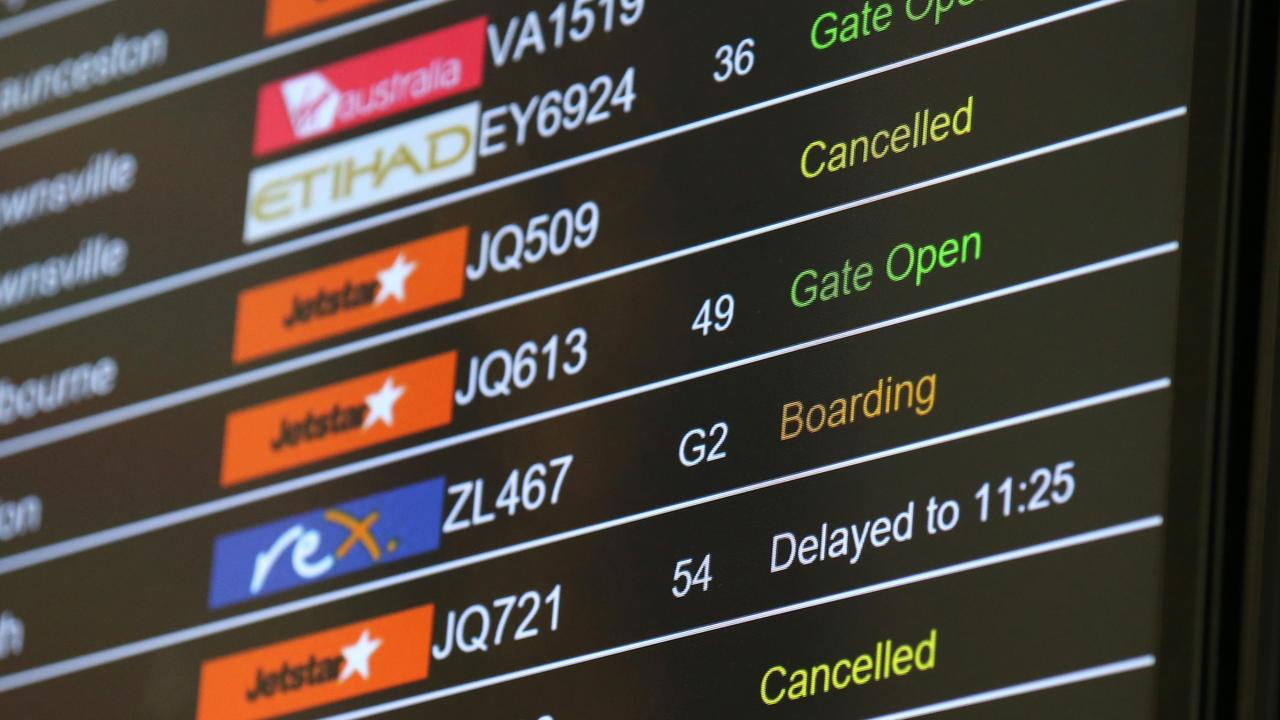 Jetstar has cancelled around 48 of their scheduled 200 flights on Wednesday. Picture: Damian Shaw