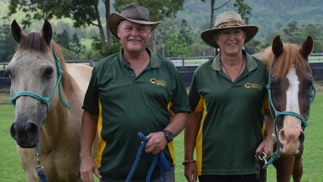 Horsetalk Riding Farm owners Steven Clibborn and Joyce Corbett with two of their horses. The Jiggi riding school is one of only four accredited facilities in NSW offering Pony Club Australia's No Pony, No Problem program. Photo: Jackie Munro