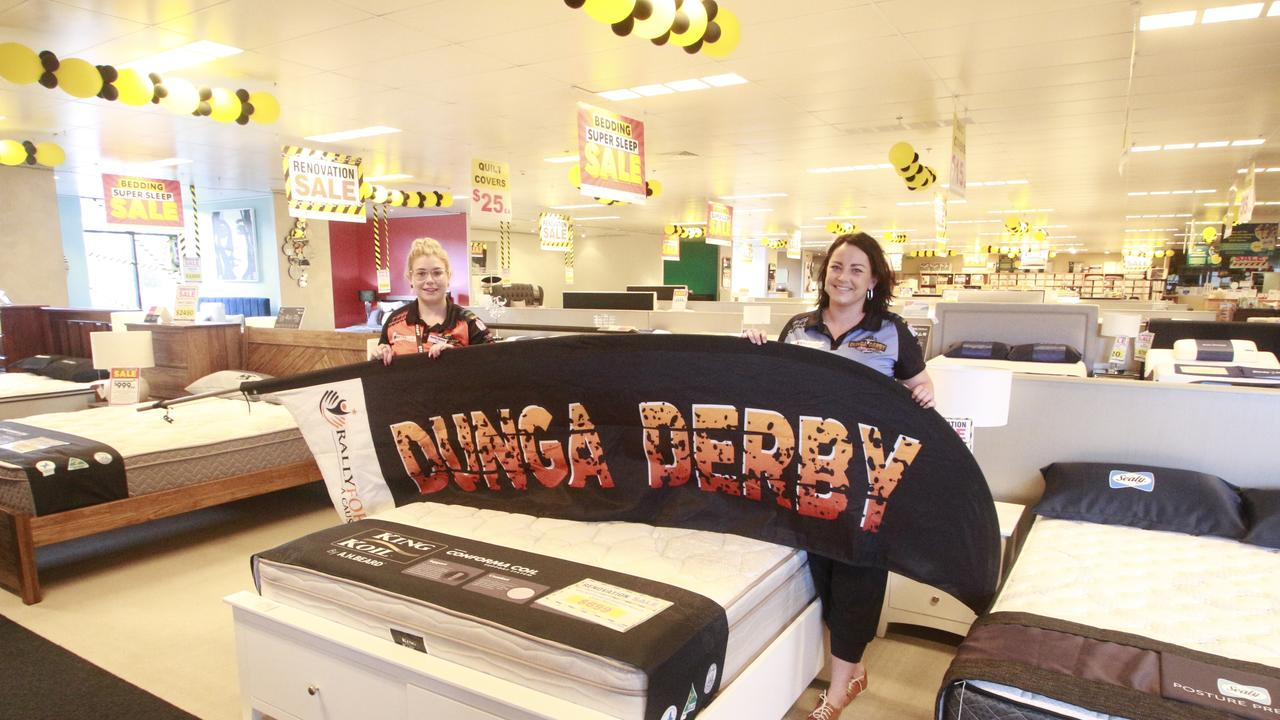Hervey Bay Harvey Norman Bedding and Linen proprietor Skye Donaldson and Dunga Derby Car 37 Team Leader Jess Lane encourage local residents to attend the Beds and Breakfast Event this Friday.