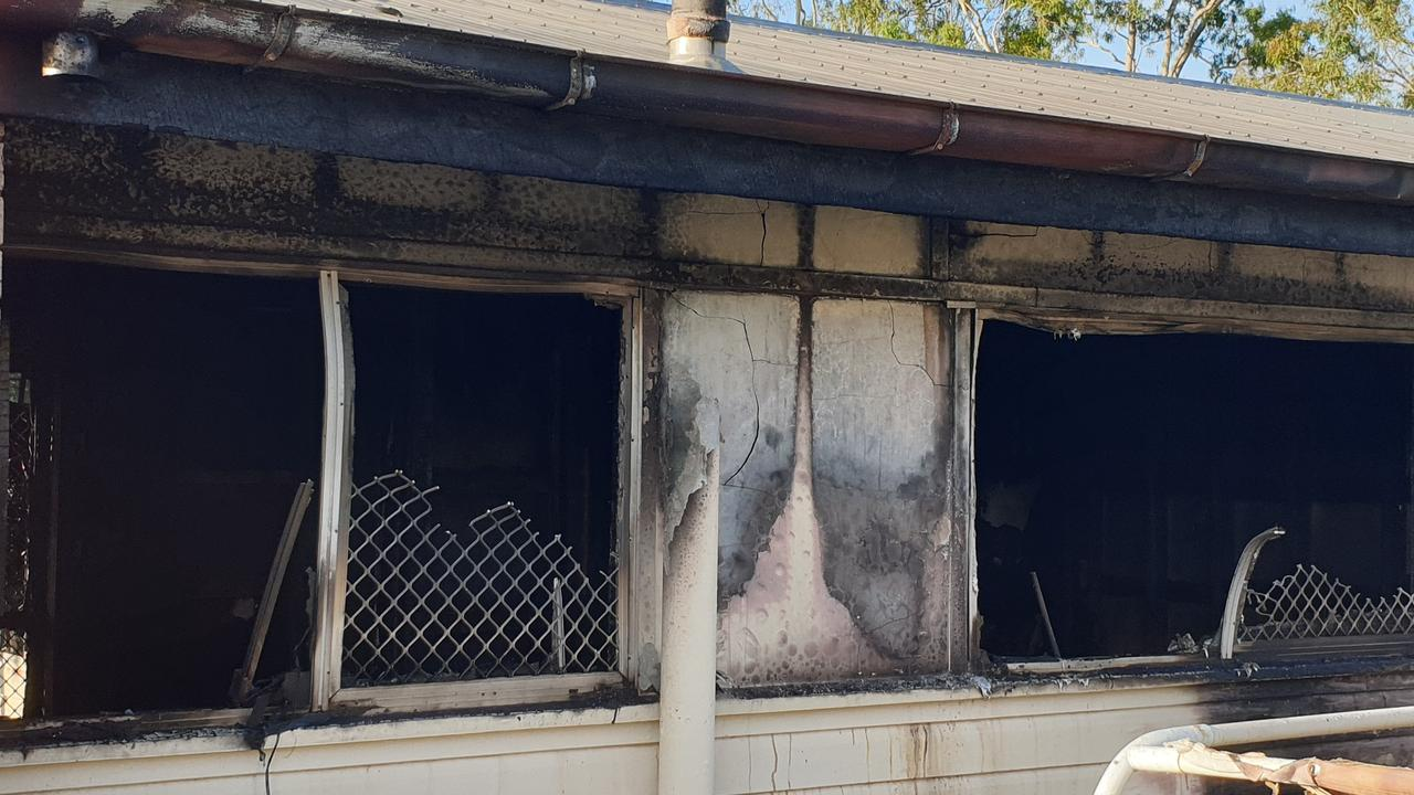 A man rescued a toddler from a burning house in Stewart Tce on Tuesday night. The fire gutted the home. Photo: Frances Klein