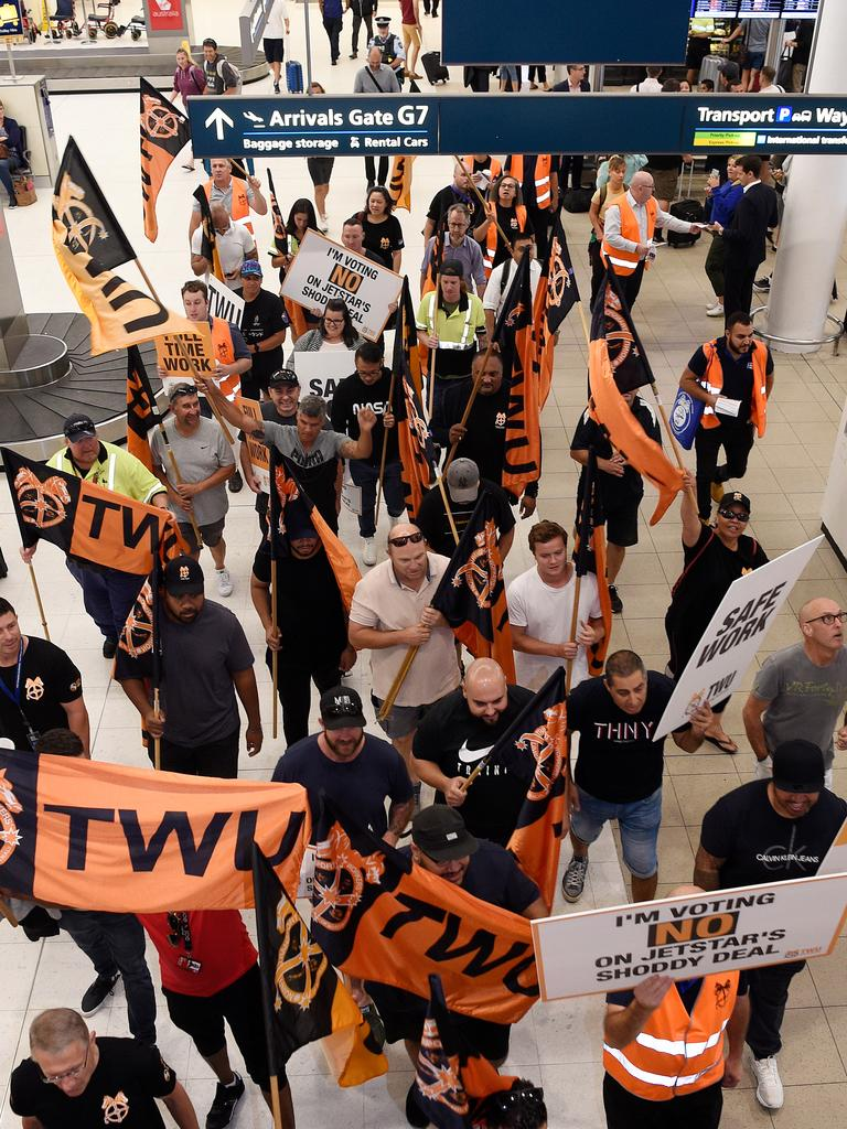 Around 250 workers went on strike around the country. Picture: AAP Image/Bianca De Marchi.