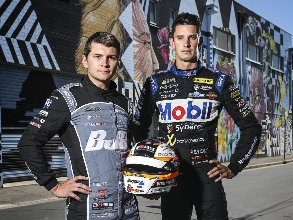 GEARED UP: Supercar drivers and new teammates Todd Hazelwood and Nick Percat. Picture SARAH REED