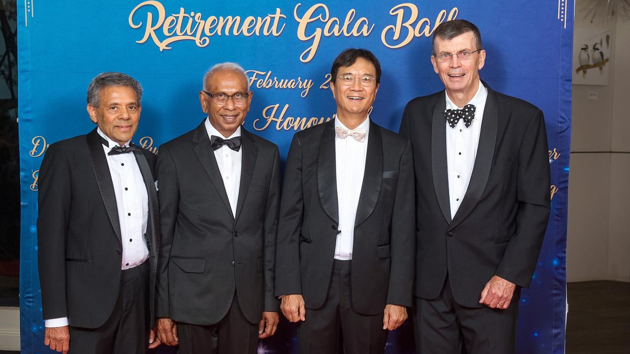 LONG CAREERS: Starting their retirement are (from left) Dr Firoze Beg, Consultant Physician, Dr Venu Venogopalan, Psychiatrist, Dr Wai Ki Pun, Orthopaedic Surgeon, and Dr Tim Porter, General Surgeon.