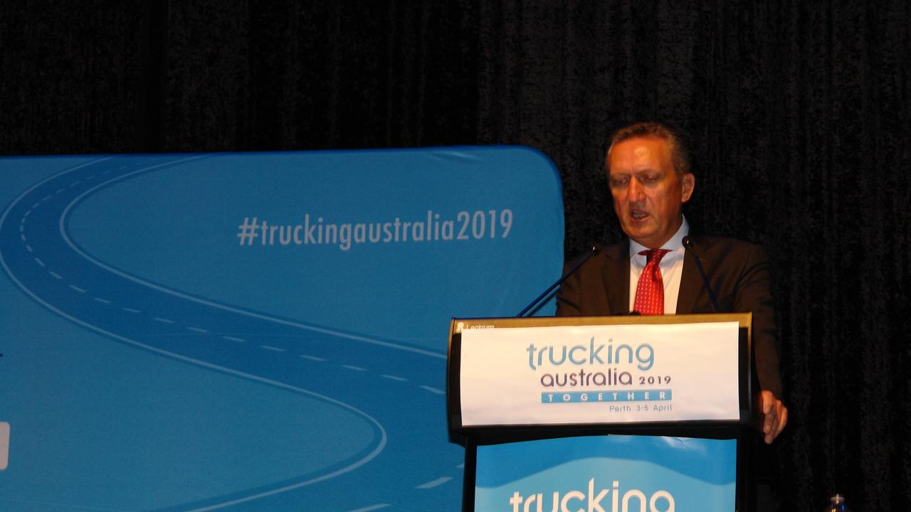 ATA chair Geoff Crouch addresses delegates at Trucking Australia 2019 in Perth.