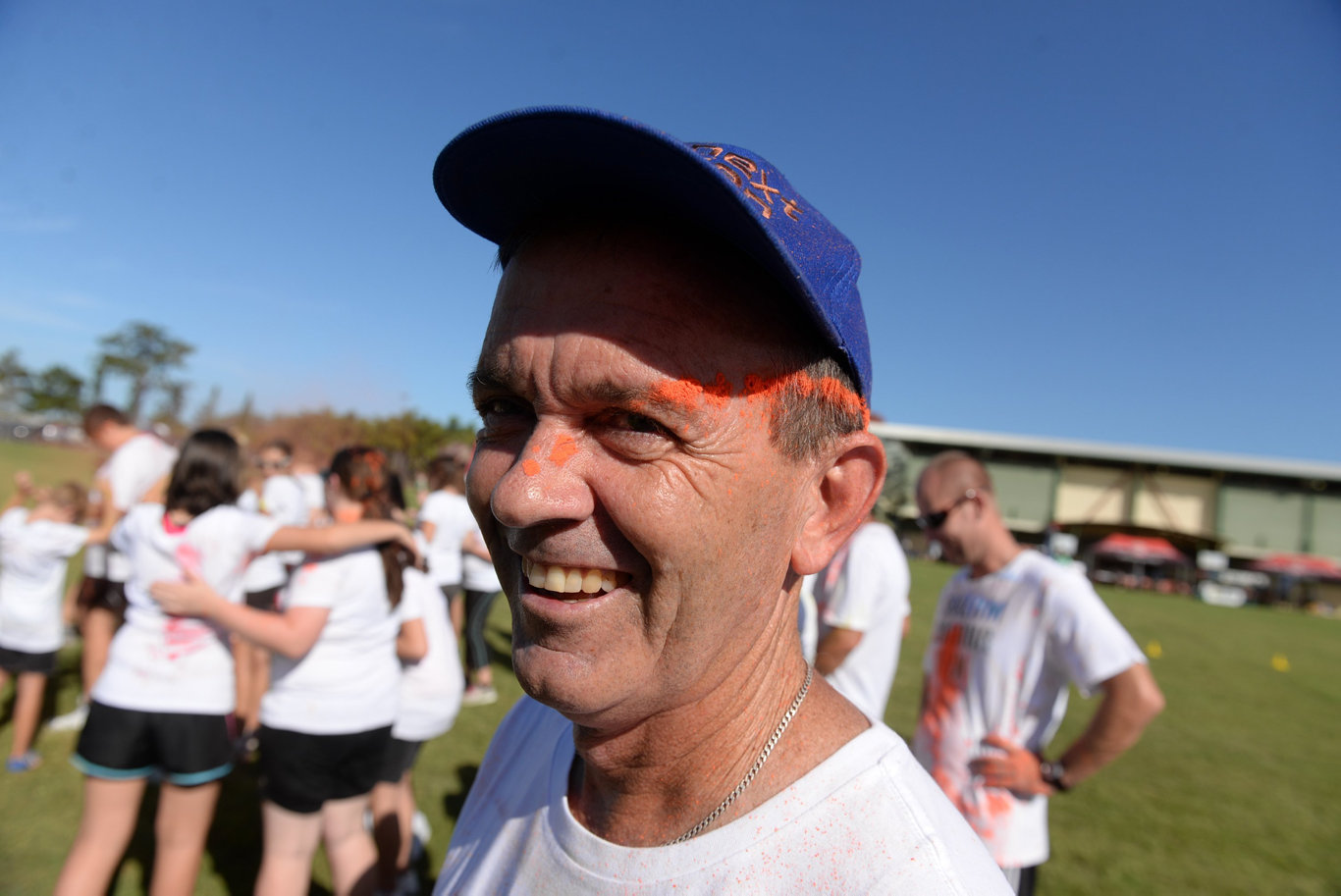 FUN RUN: Cr Vince Habermann enjoyed the Shalom Colour Fun event at the school.Photo: Mike Knott / NewsMail