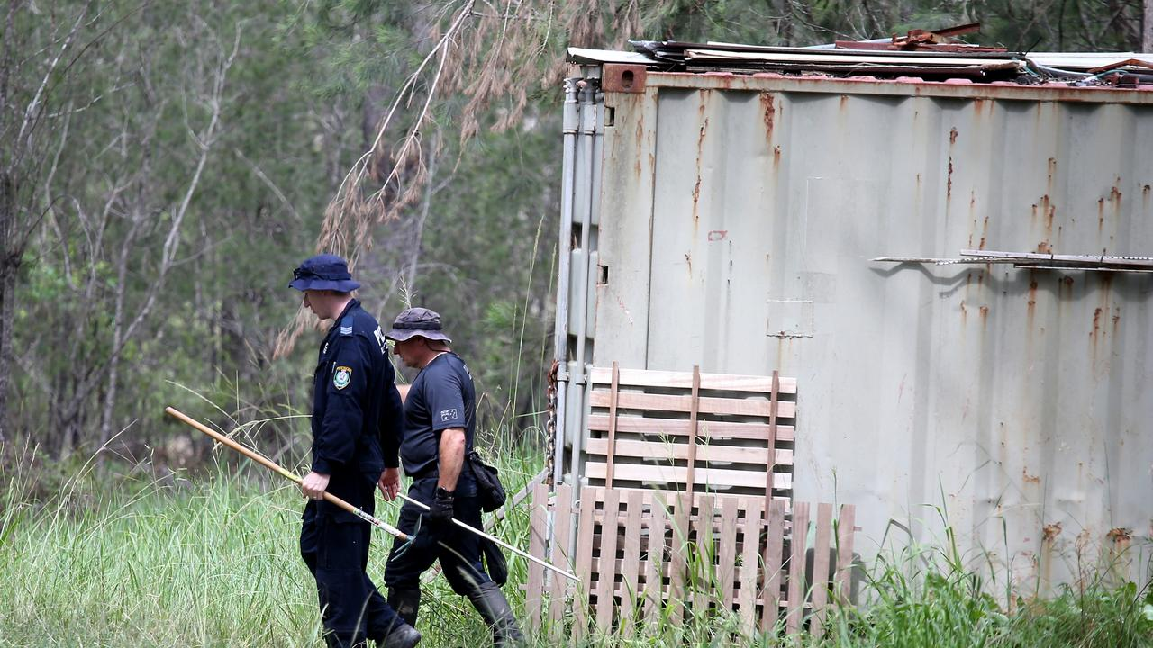 Police conduct a search of a property on Herons Creek Rd north of Kendall as the search for William Tyrrell continues. Picture: Nathan Edwards