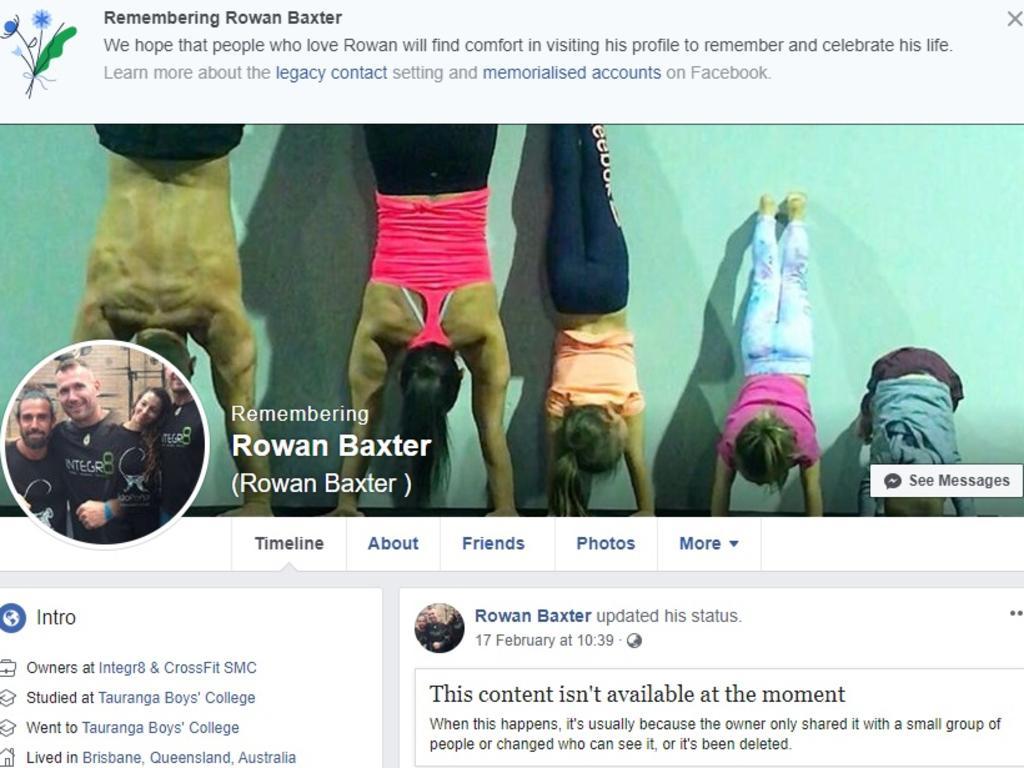 Rowan Baxter's Facebook page 'memorialised'.