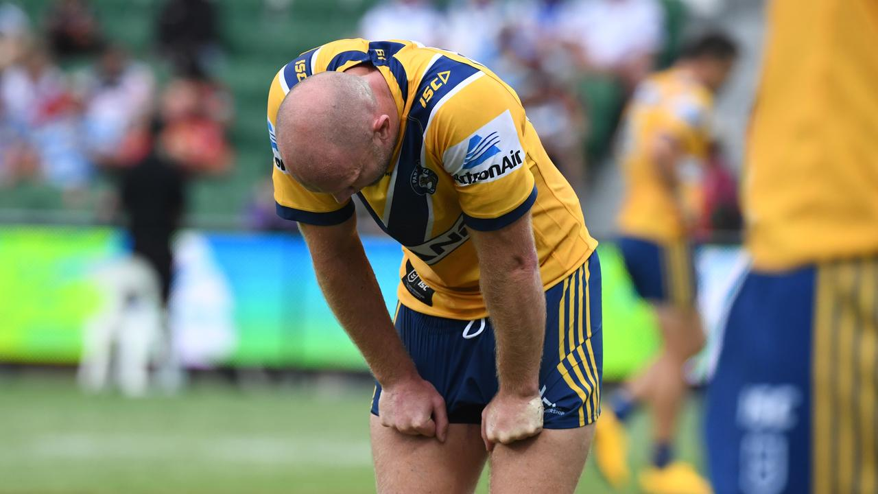 The Eels were gutted at their loss. Photo by Grant Trouville, NRL Photos.