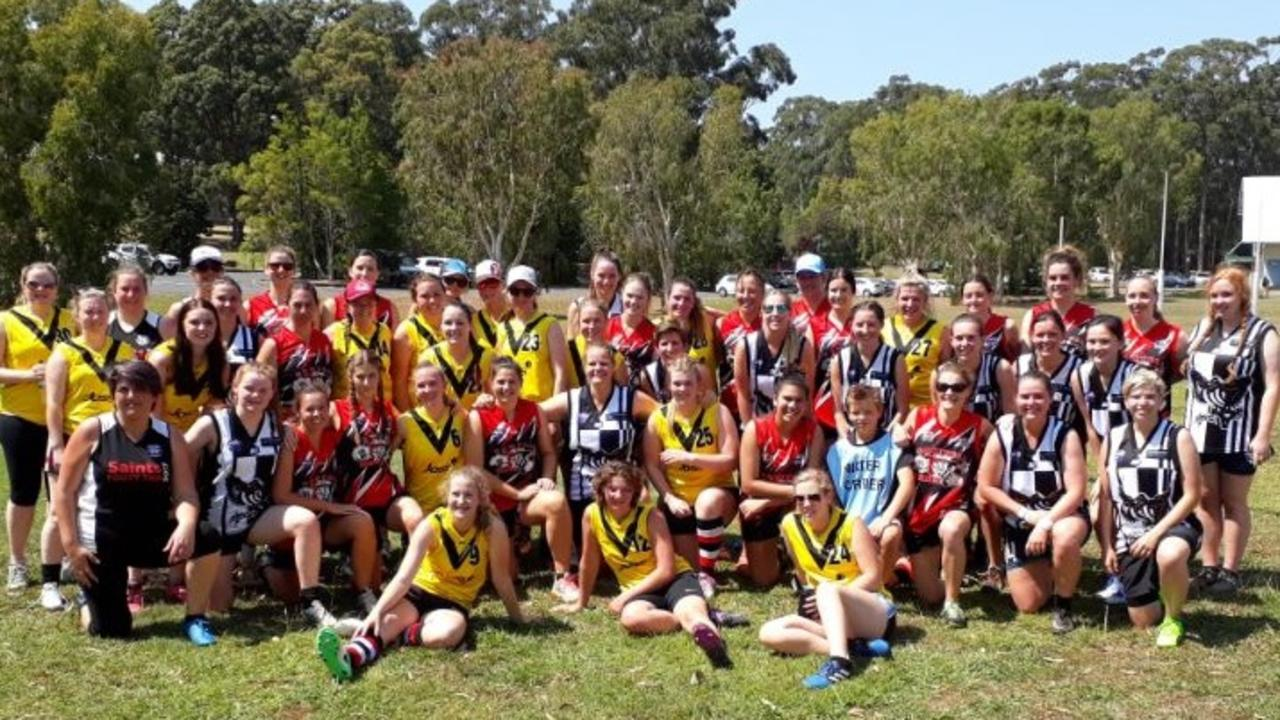 All smiles after a women's AFL match between North Coast and Inverell. Photo: Paul Taylor