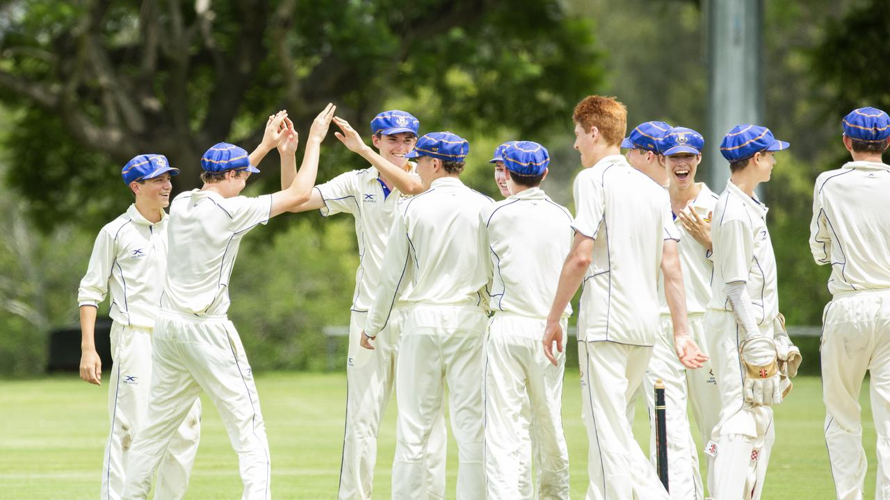 PERFECT START: Toowoomba Grammar celebrates a wicket against Gregory Terrace. Photo: AAP Image/Renae Droop)