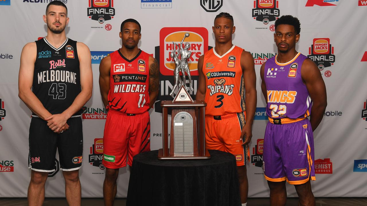 Melbourne United's Chris Goulding, the Wildcat's Bryce Cottons, Cairns gun Scott Machado and Casper Ware of the Kings at the NBL Finals Series media event in Melbourne on Monday. Picture: James Ross/AAP
