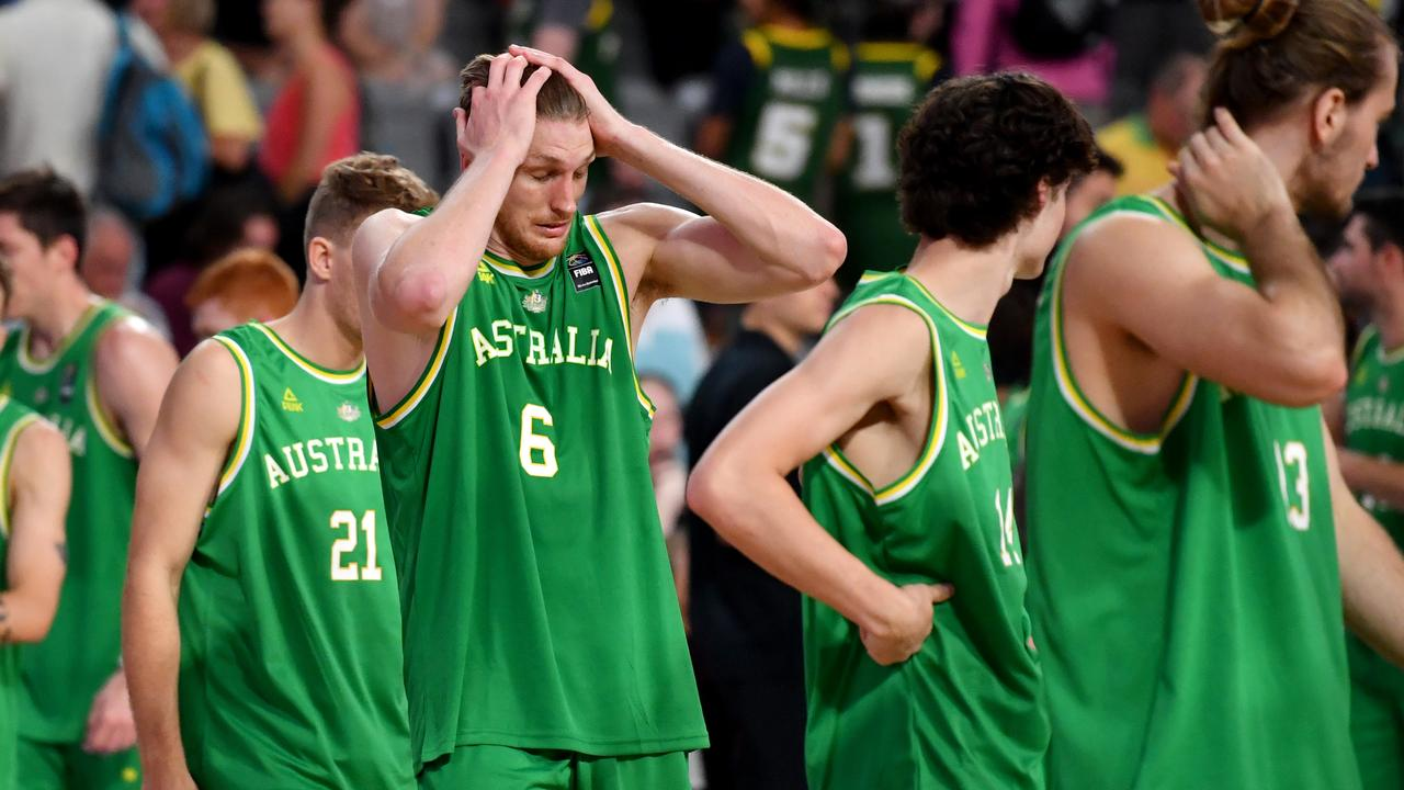 The Boomers' Matt Hodgson after the loss. Picture: AAP
