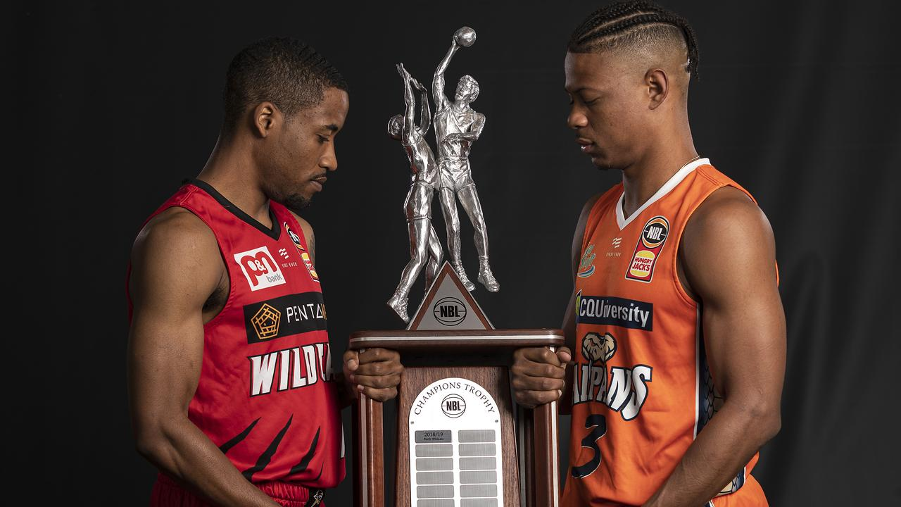 Bryce Cotton of the Wildcats and Scott Machado of the Taipans both want the NBL trophy. Picture: Daniel Pockett/Getty Images