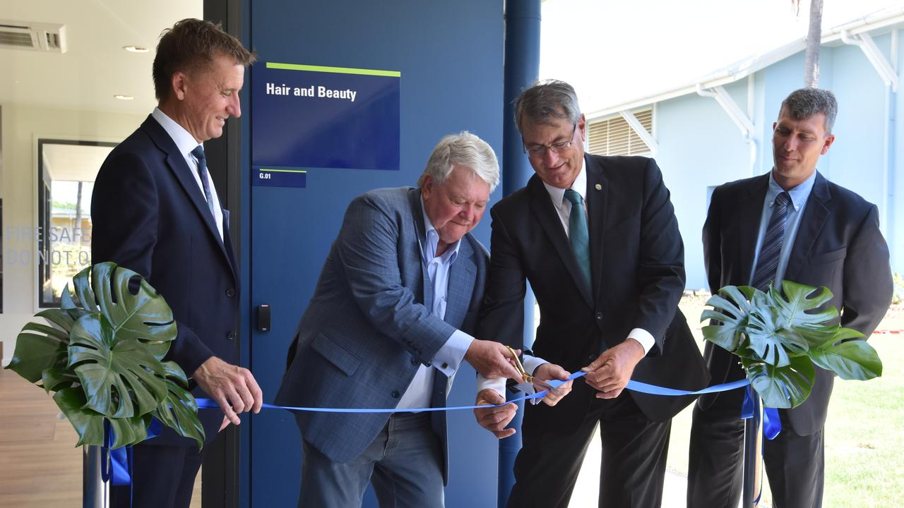 CQUniversity Vice Chancellor and president Nick Klomp, federal member for Flynn Ken O'Dowd, Chancellor John Abbott and Associate Vice-Chancellor Owen Nevin opening the trades training centre at the Gladstone Marina Campus.