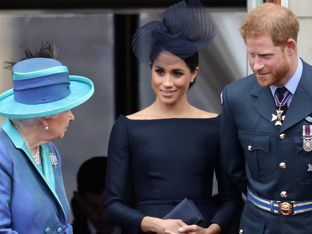 Prince Harry, Duke of Sussex and Meghan, Duchess Of Sussex, with Queen Elizabeth II at Buckingham Palace. Picture: Getty
