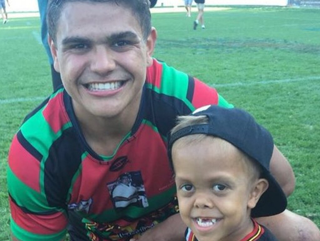 Quaden Bayles with Rabbitohs star Latrell Mitchell.
