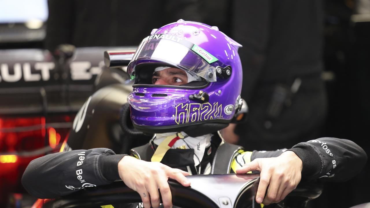 "Daniel Ricciardo donned a racing helmet paying tribute to Kobe Bryant, painted Los Angeles Lakers purple and gold and inscribed with the words ""Mamba Mentality"" and ""KB24"" for the pre-season testing session at the Barcelona Catalunya racetrack. Picture: AP Photo/Joan Monfort"