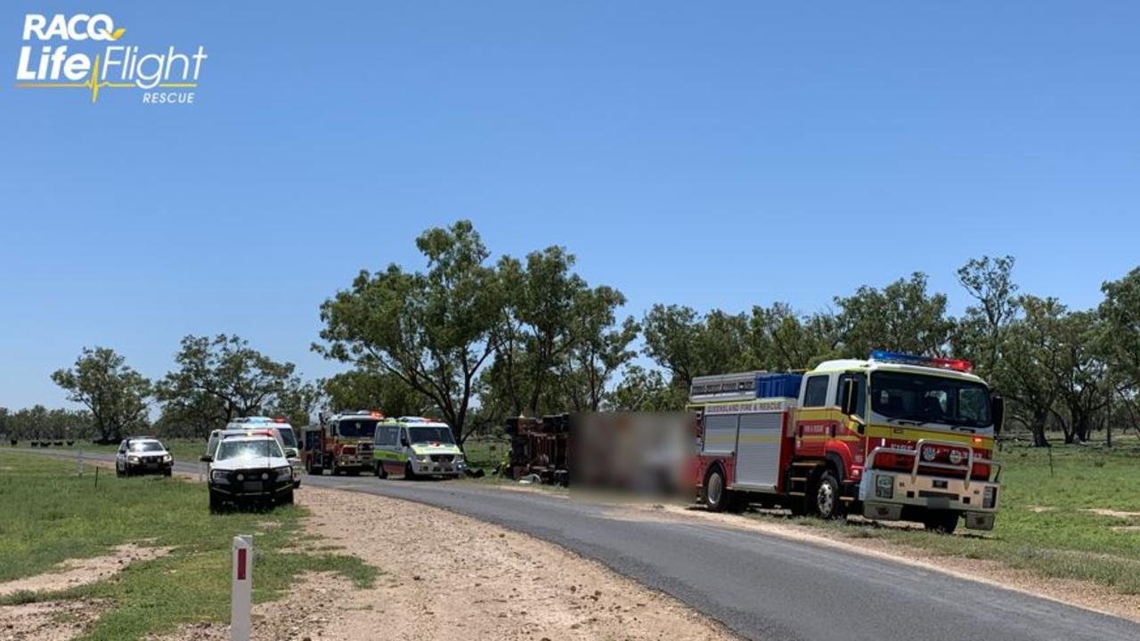 TRUCK ROLLOVER: Emergency crews on scene of road accident.