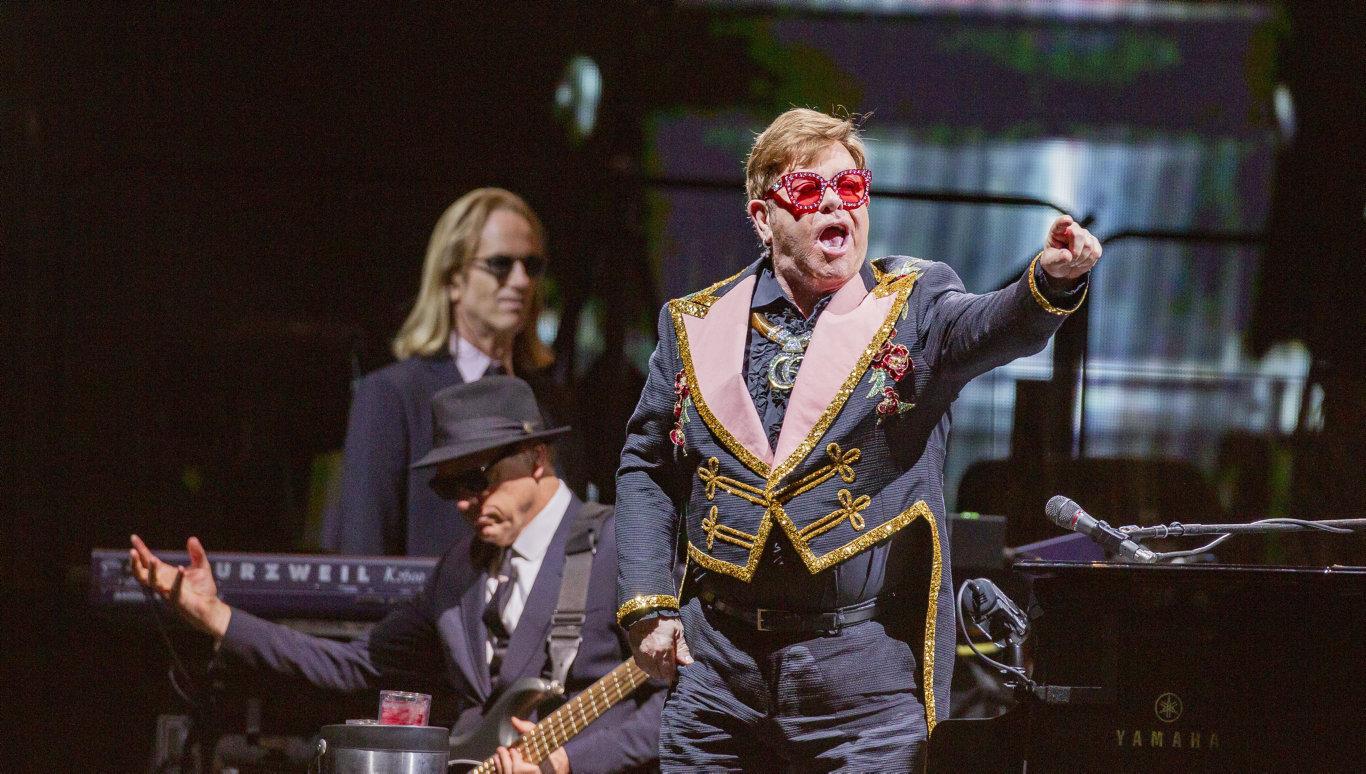 British musician Elton John performs during his Farewell Yellow Brick Road Tour at HBF Park, in Perth, Saturday, November 30, 2019. (AAP Image/Tony McDonough) NO ARCHIVING