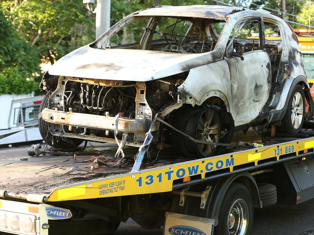 The burnt out car is removed that Rowan Baxter killed his three children is towed away. Picture: Lyndon Mechielsen/The Australian