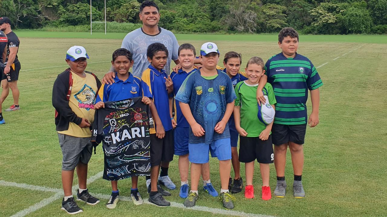 Murgon State School students with NRL indigenous All Star Latrell Mitchell. (Picture: Contributed)