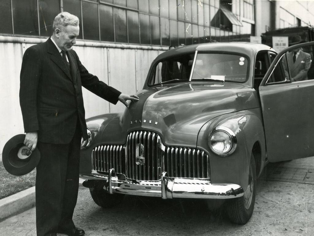 Aust Prime Minister J. B. (Ben) Chifley inspects the 48/215, the very first Holden motor car to come off the assembly line at General Motors-Holden's plant at Fishermans Bend, Victoria, on November 29, 1948. Picture: Herald Sun Feature Service, Melbourne