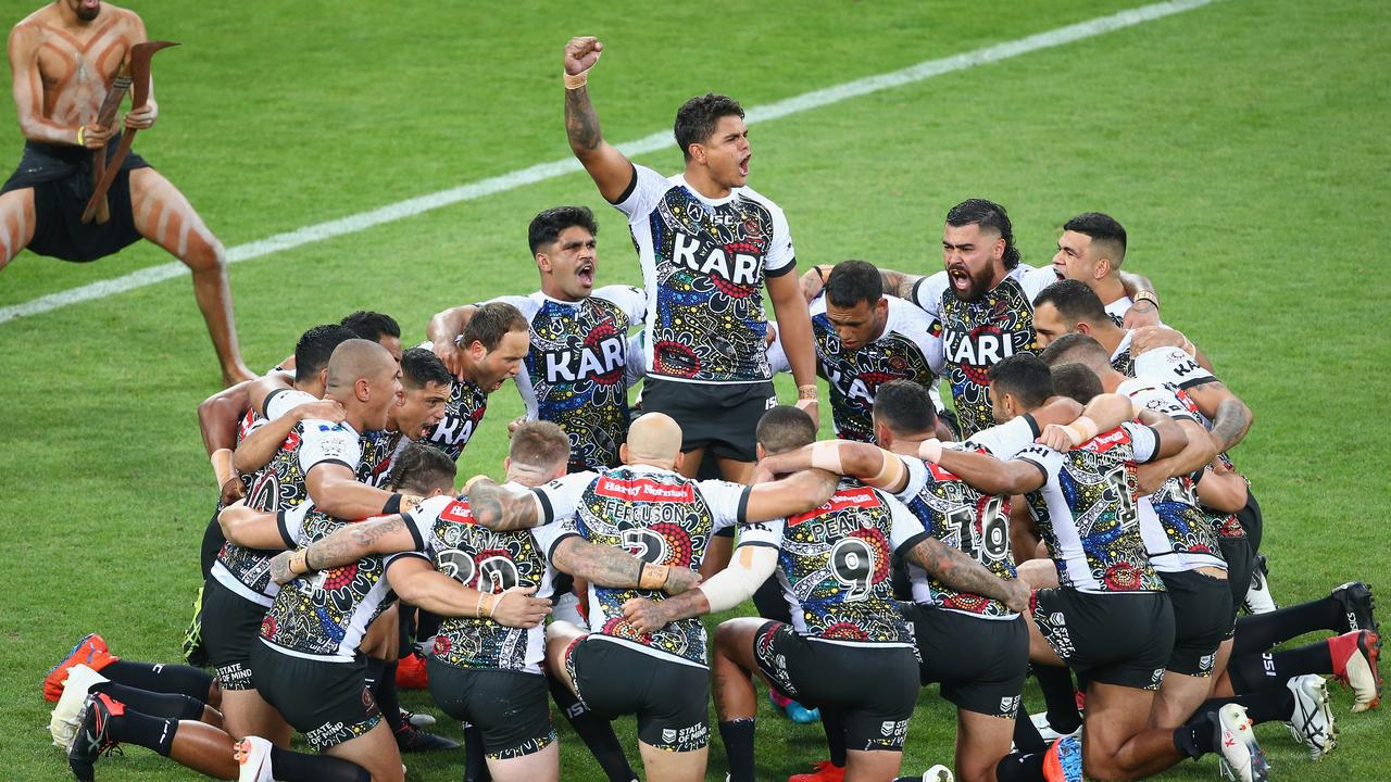 Latrell Mitchell leads the Indigenous All Stars in a war cry prior to last year's All Stars match. Picture: Mike Owen/Getty Images