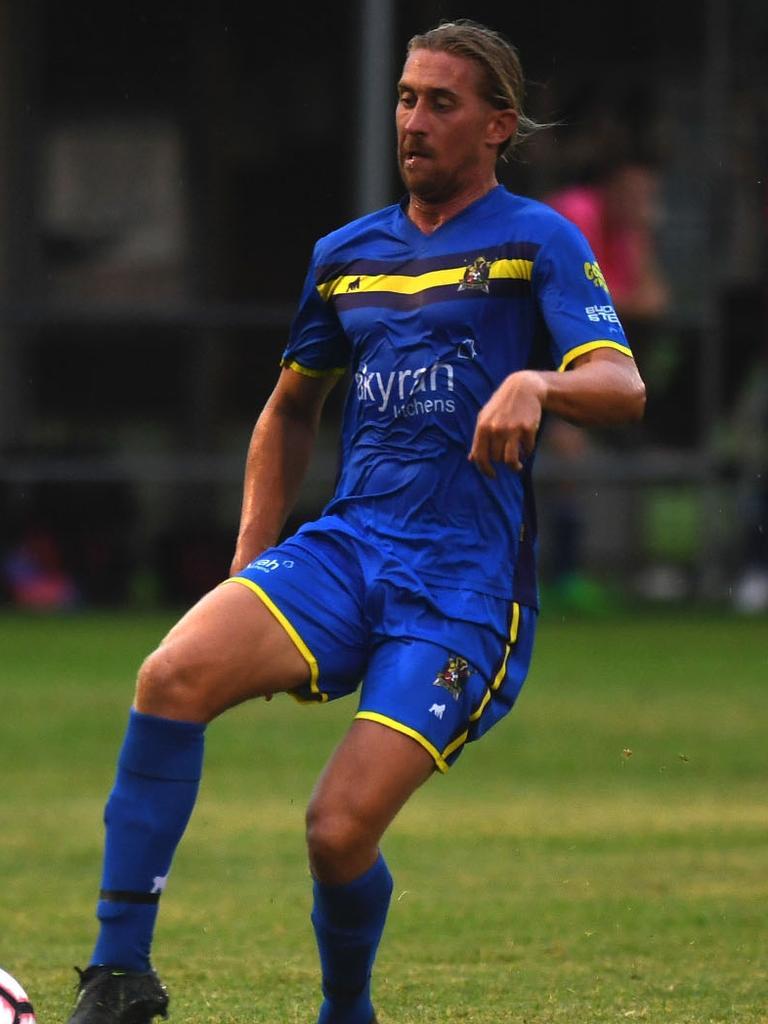 Gympie United Gladiators Premier Men player Jordan White in action against Maleny Division 2.