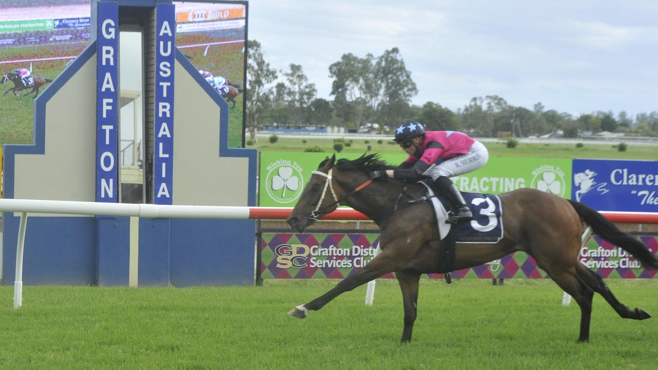 Ms Rachael Murray rides Warren Gavenlock's Plonka to victory at the Country Championships qualifying heat moved from Coffs Harbour to Grafton's Clarence River Jockey Club on Thursday, February 20.