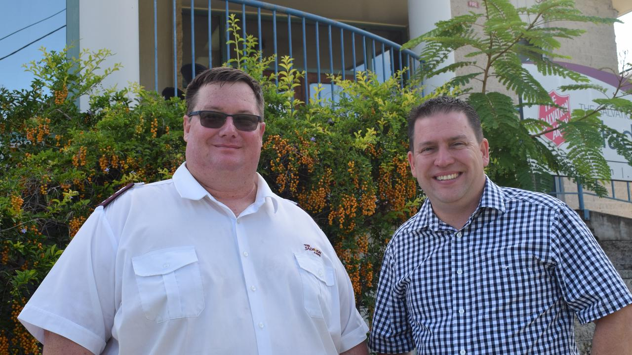 Salvation Army Corps Officer Lieutenant Chris Ford and Gladstone Region Mayor Matt Burnett addressing the drought appeal funds 21.02.2020