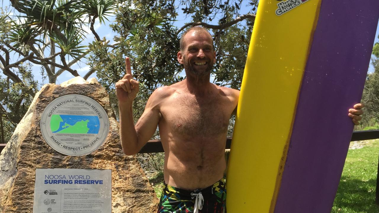 Jason Weeks, from WA, was the first to catch a wave in the official World Surfing Reserve at Noosa.