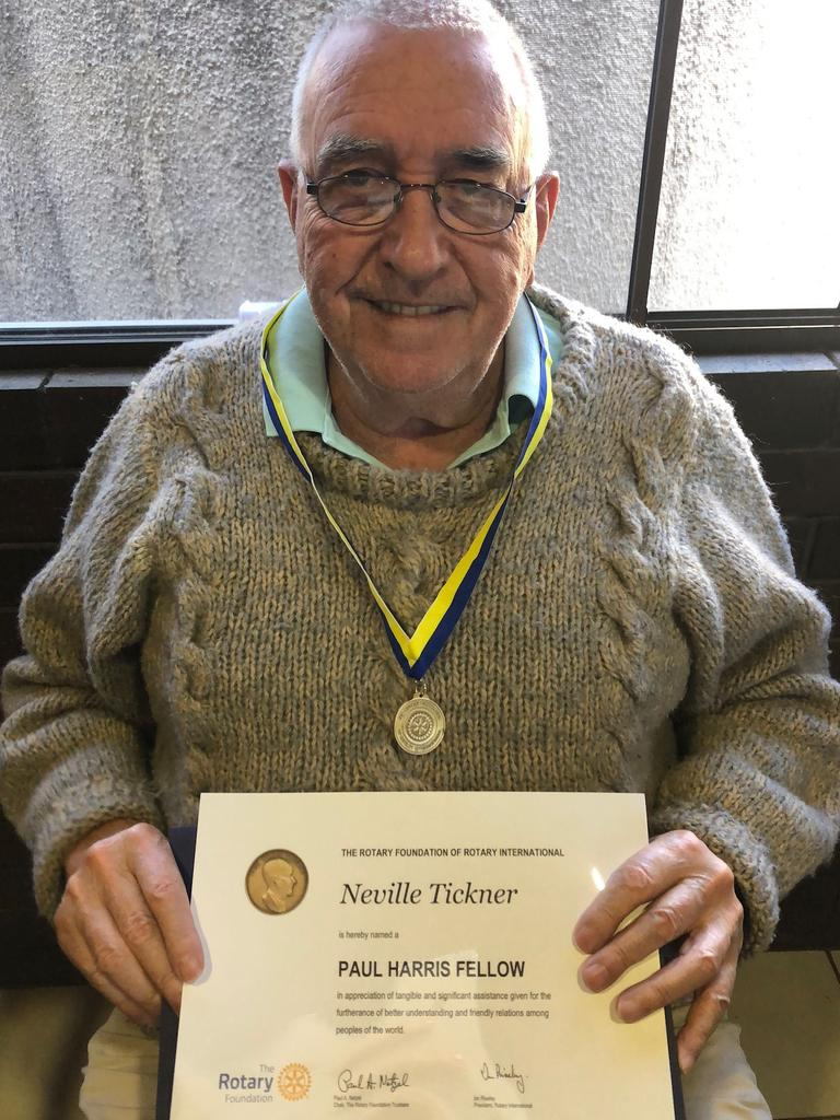 Mr Tickner was named a Paul Harris Fellow by Rotary International