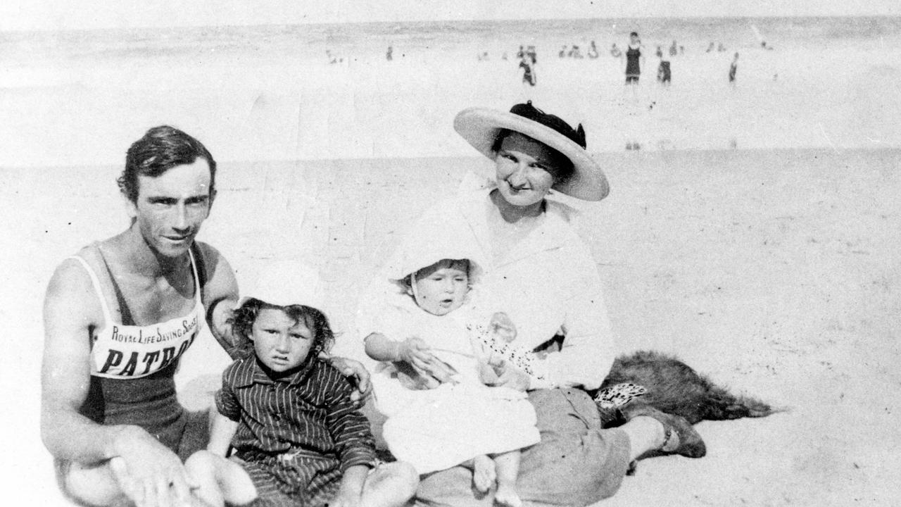Jack Morgan with his sons John Jnr and Les, and wife Nellie on Coolum Beach, 1921. Jack was one of the first patrolmen on Coolum Beach and founder of Coolum Life Saving Club. In 1946, in recognition of his contribution to the community, Jack was elected to the Maroochy Shire Council.