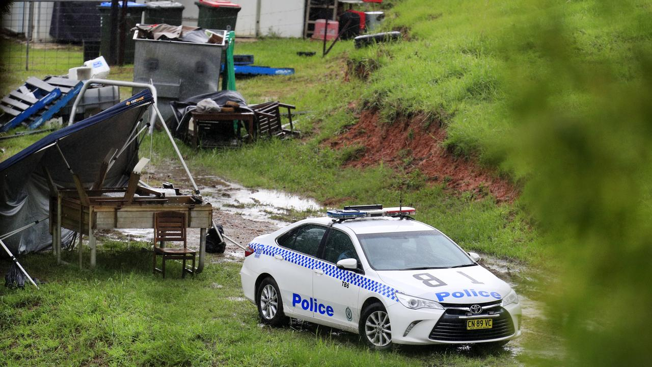 Tweed-Byron police set up a crime scene at a Kanes Rd, Cudgera Creek property where Anthony Stott was allegedly detained by Mark Francis Frost and Lauren Claire Grainger. Photo: Scott Powick