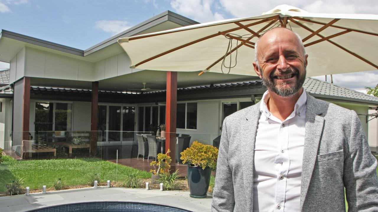 AMPLE MARKET: Ray White Maroochydore's Jason Mills on site at 18 Surf Rd, Maroochydore, that goes to auction Saturday at 3pm. Photo: Erle Levey